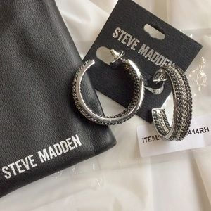 STEVE MADDEN Chain Link Open Hoop Earrings